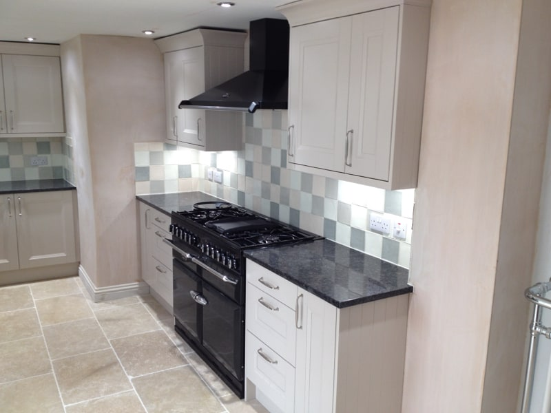 Painted Wooden Kitchen & Steel Grey Granite Worktops