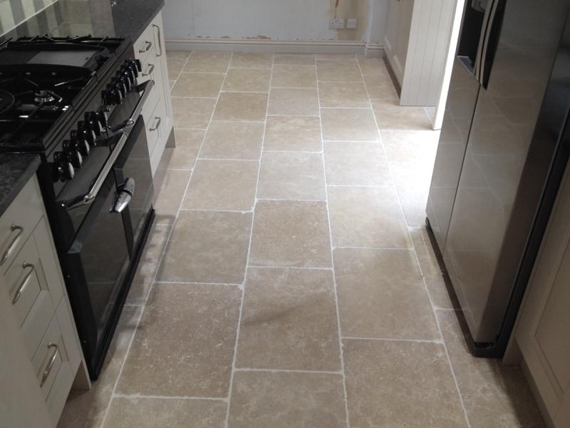 Fossilised limestone flag floor
