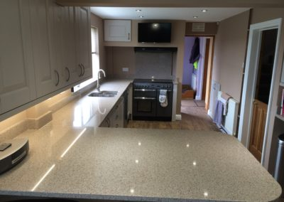 Silestone Beige Daphne worktops, upstands and splashback