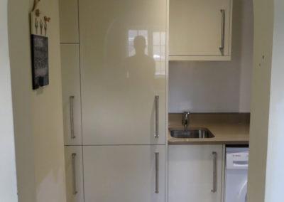 Bespoke High Gloss units to house fridge-freezer