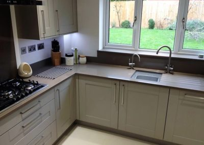 Painted Oak kitchen with Silestone Unsui, boiling water tap and Neff appliances