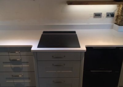 Induction hob with downdraft extractor, Fisher & Peyton drawer dishwasher.