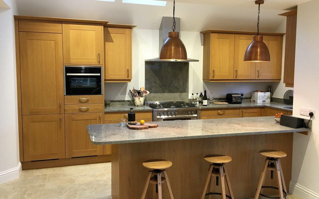 Natural Broadoak Kitchen & Turbine Grey Quartz Worktops