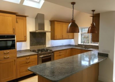 Natural Broadoak with Turbine Grey Quartz Caesarstone worktops