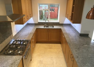 Tiled floor, Caesarstone worktops, LED under cabinet lighting