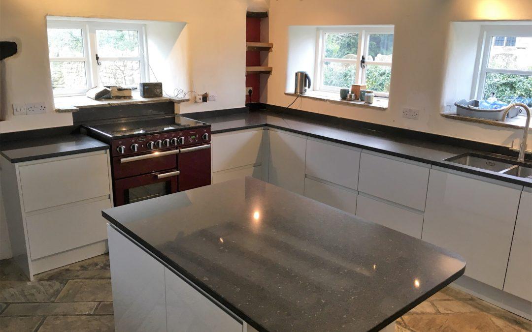 Light Grey High Gloss Kitchen & Silestone Arden Blue Polished Worktops