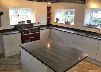 Light Grey High Gloss Kitchen & Silestone Arden Blue Polished Worktops
