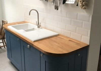 White enamel sink set in European Oak worktop