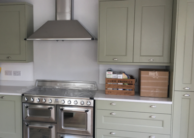 Sage Grey Ash Kitchen & Silestone White North Worktops