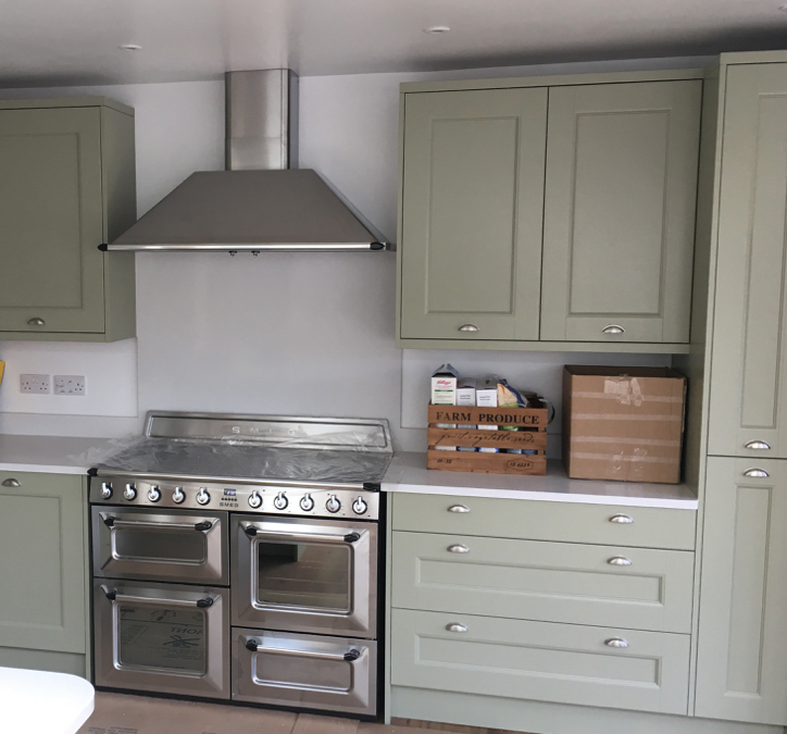 Sage Grey Ash Kitchen & Silestone White North Worktops