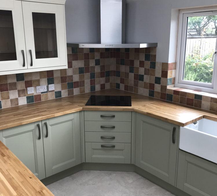 Two Tone Painted Ash Shaker Kitchen & European Oak Worktops
