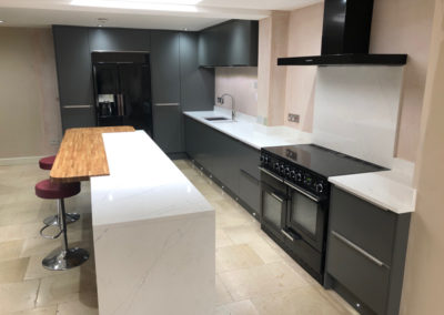 Painted Matt Graphite Kitchen & Tuscany White Extra Quartz Worktop